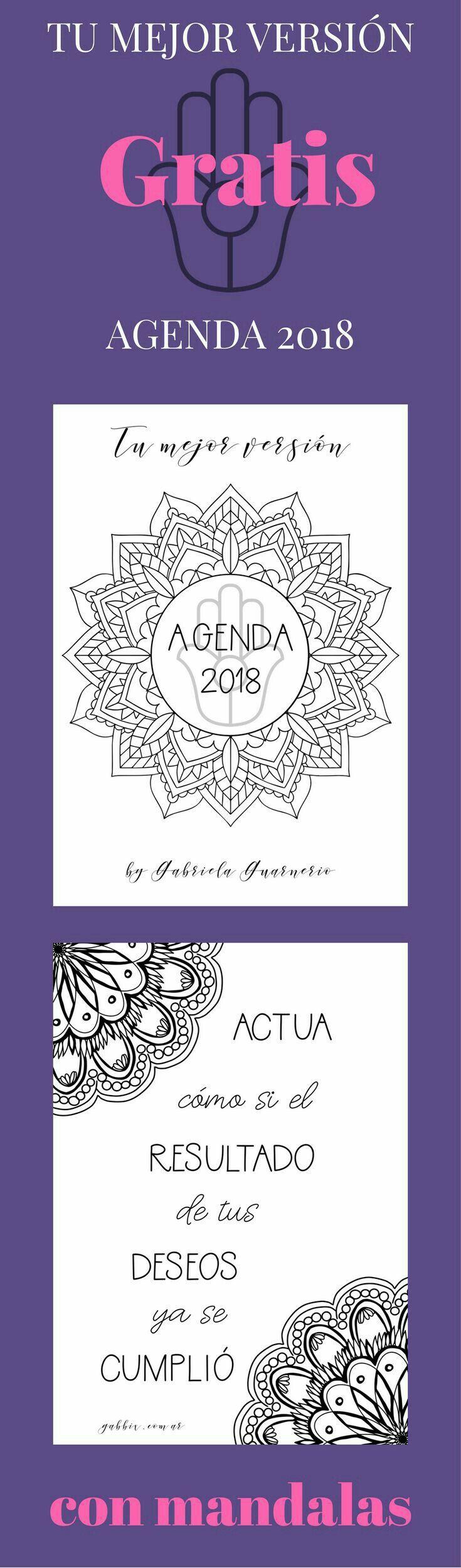 Agenda 2018 con mandalas para colorear. Gratis.Descarga inmediata ...