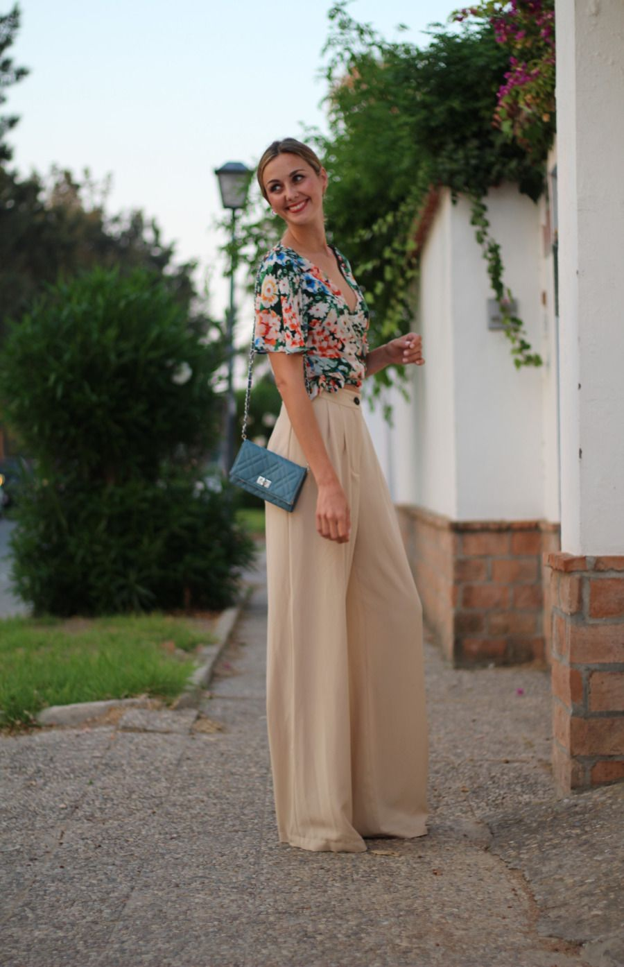pantalon zara palazzo flores