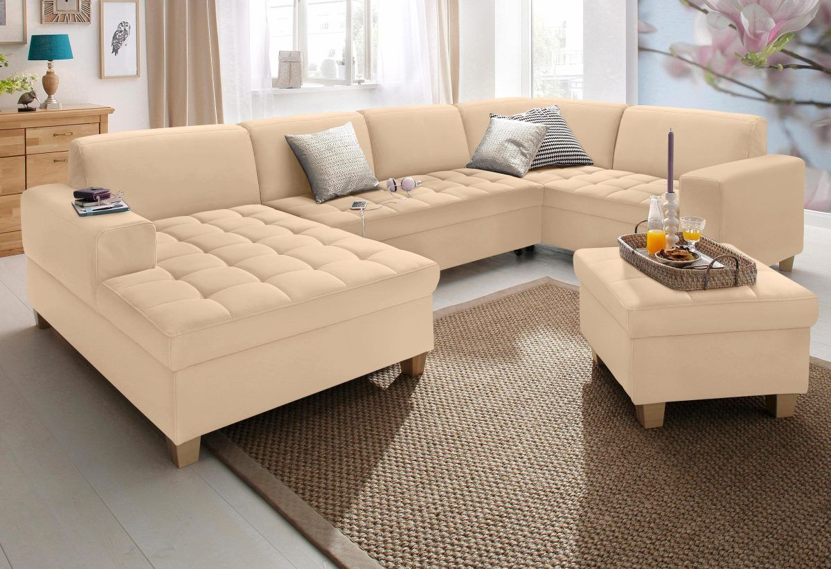 Home affaire Wohnlandschaft beige, Recamiere links, mit Bettfunktion ...