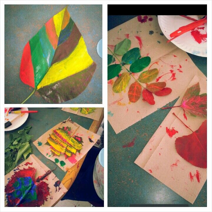 Summer Art Project. Take a walk w/ kids, pick up leaves & paint ...