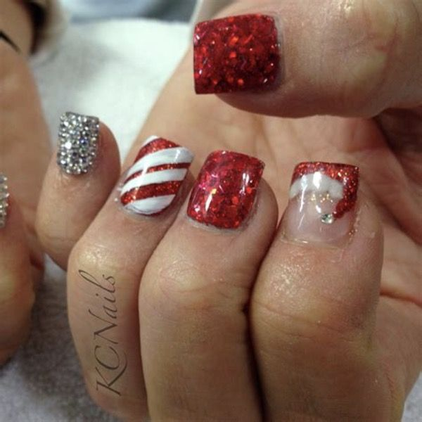 Christmas Nails Not Red: Red Glitter Coffin Nails For Winter In 2019