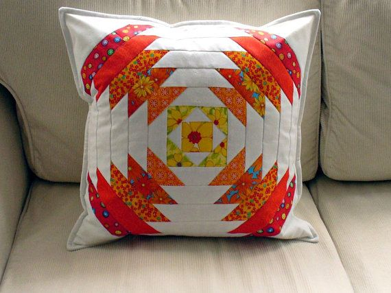patchwork pillow by MagdalenasQuiltShop on Etsy, $30.00
