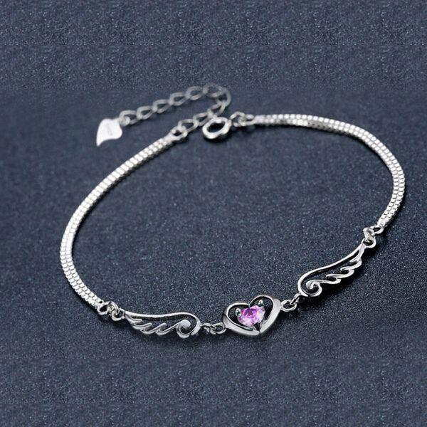 Heart bracelet in silver angel wing amethyst sterling 925 jewelry for women/'s charm chains