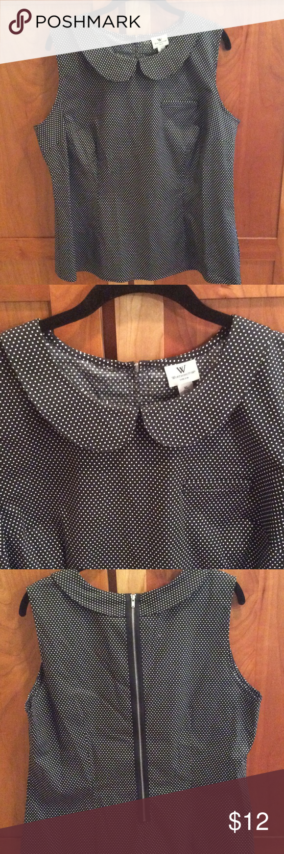 """Black & white sleeveless blouse - size XL Black & white polka dot, sleeveless blouse, rounded collar, back exposed zipper, size XL. Measures 22"""" across and 25"""" length. 97% cotton, 3% spandex, has some stretch. Worthington brand from JCPenney. Never worn...very cute! Worthington Tops Blouses"""