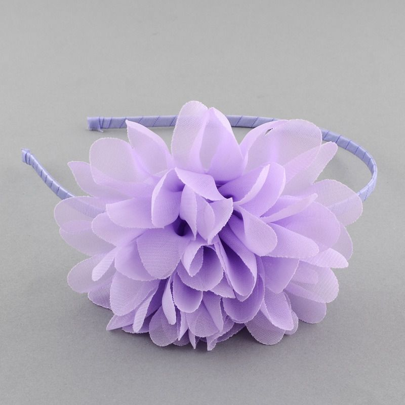 Serre tête à grosse fleur froufrou parme, idéal mariage