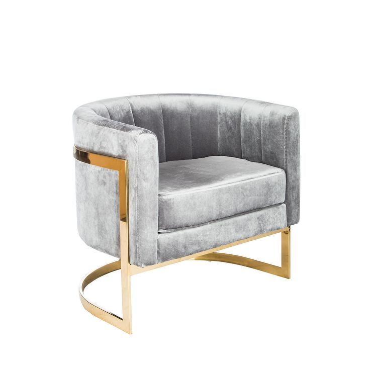 Mica Grey Velvet Gold Accent Chair   Decor & Furniture ...