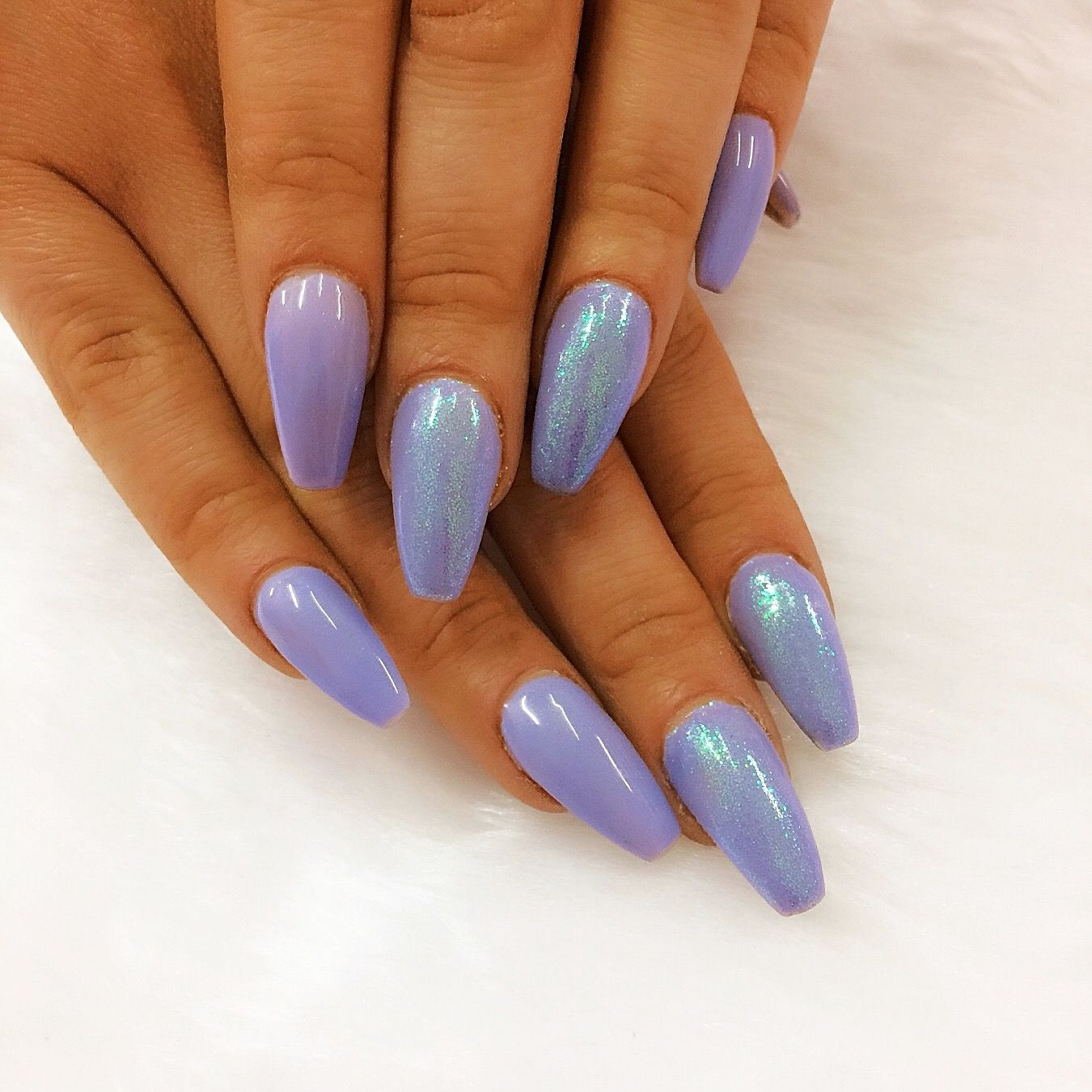 Periwinkle coffin shaped acrylic nails with mermaid glitter accents ...