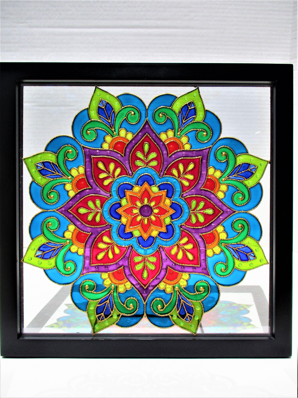 Mandala Art Glass Painting Bohemian Decor Stained Glass Glass Art Wall Art Window Decor Sun Catcher Modern Art Mandala Art Glass Painting Patterns Art Stained