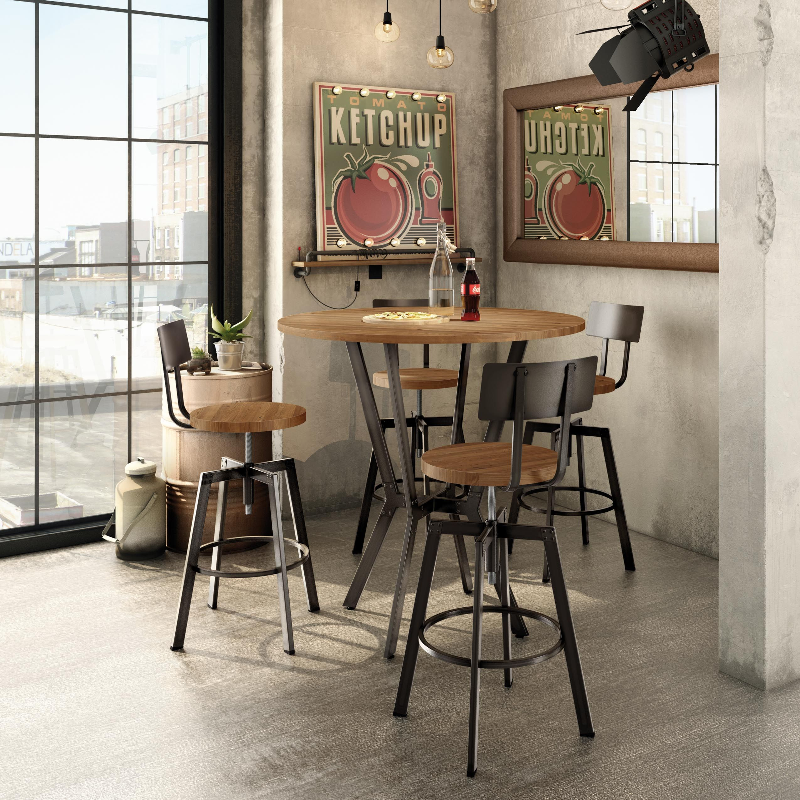 amisco industries ltd architect screw stool and norcross pub table industrial collection - Amisco Bar Stools