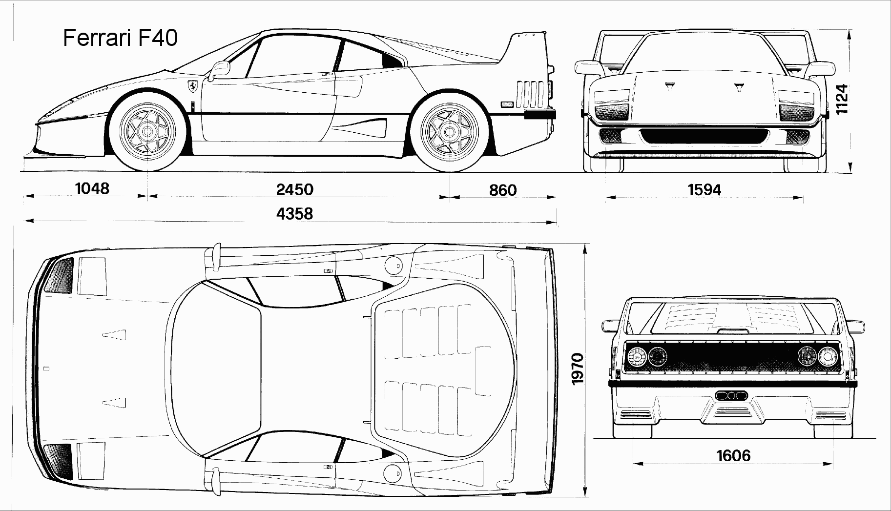 Ferrari F40 blueprint | blueprints | Pinterest