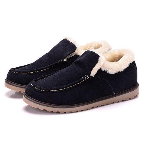 Men Old Peking Style Fabric Warm Plush Lining Slip On Casual Shoes