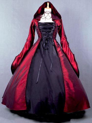 4e1c8cfbd730 Salem Witch Costume Victorian Poplin Long Sleeves Witch Dress Costume