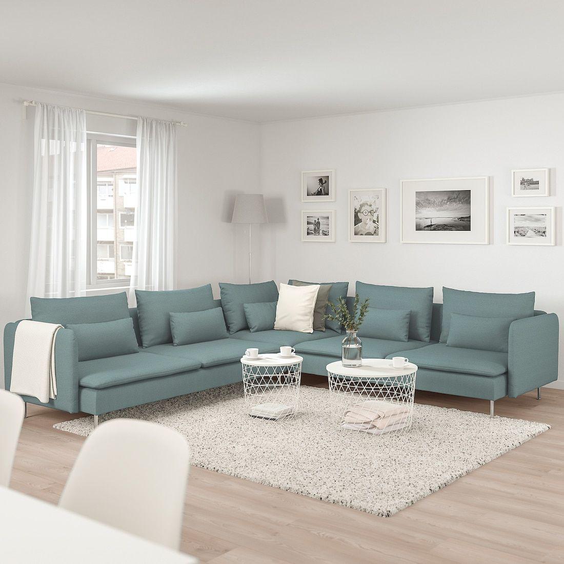Soderhamn Sectional 5 Seat Finnsta Turquoise Small Living
