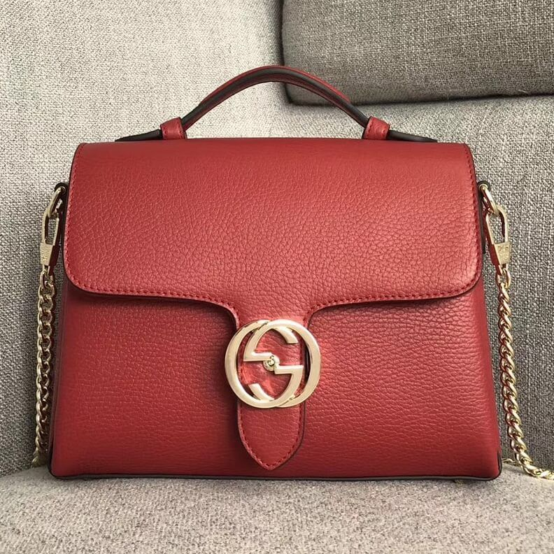 f7e96bdccdb Gucci GG Leather Top Handle Bag 510302 Red 2018