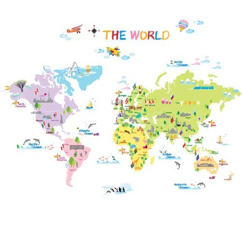 Home kids wall stickers colourful world map children decal large home kids wall stickers colourful world map children decal large vinyl art sticker gumiabroncs Gallery