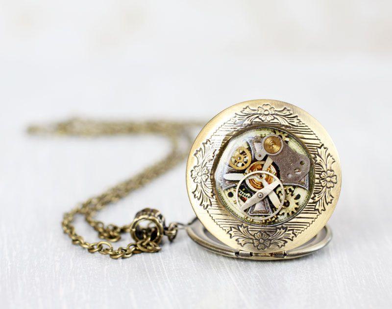Steampunk locket necklace  Antique Watch by VisitingCINDERELLA, $29.00