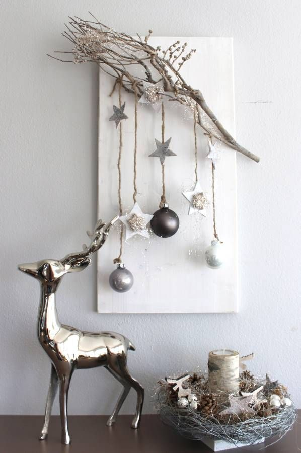 AW56% u2013 Noble Christmas wall decoration! Wooden board, of course, decorated with a branch of a vine, birch stars, wooden stars, balls and angel hair! Price ...