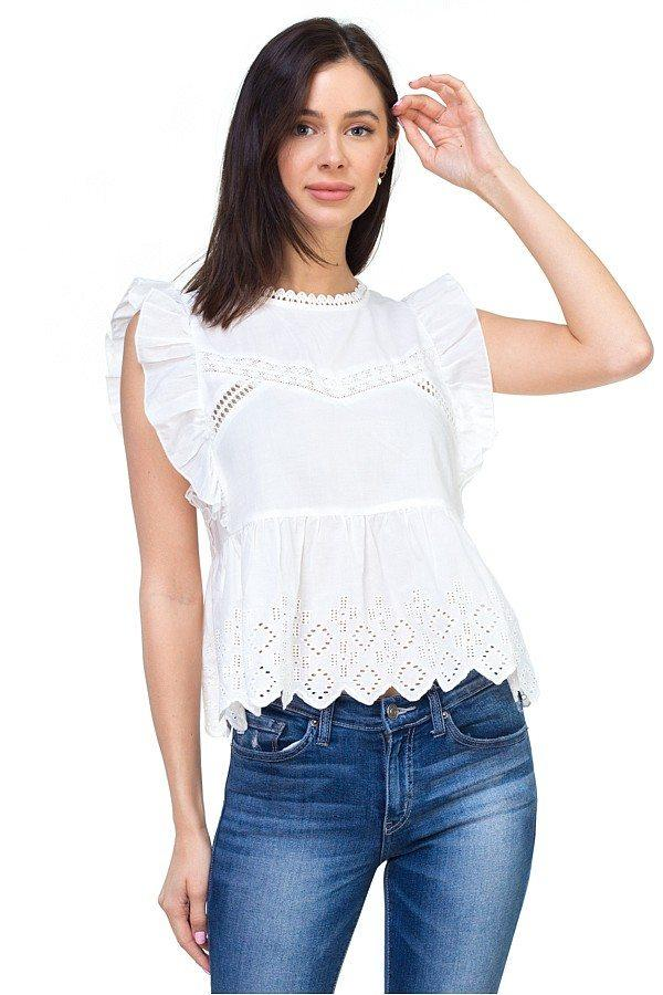 d6270d6704e86 Sleeveless ruffle trim eyelet top in 2019
