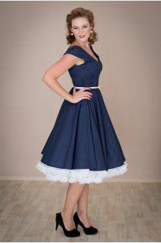 361d7d6bdb6 Retro šaty kolová sukně spodnička modrá modré šaty léto pásek handmade  ruční výroba česká výroba svatba