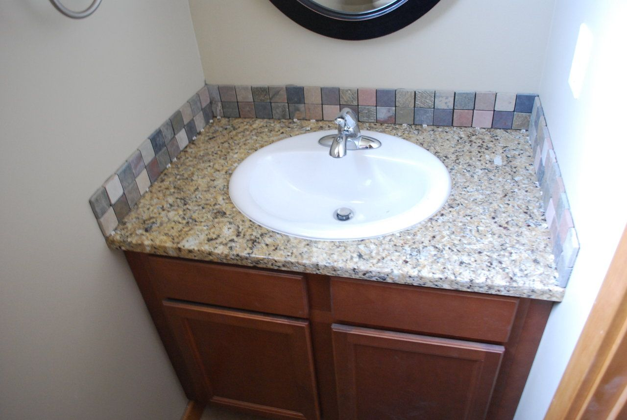 Bathroom Sink Backsplash Ideas | Slate Tile Backsplash, Mosaic Slate  Backsplash, Mosaic Backsplash .