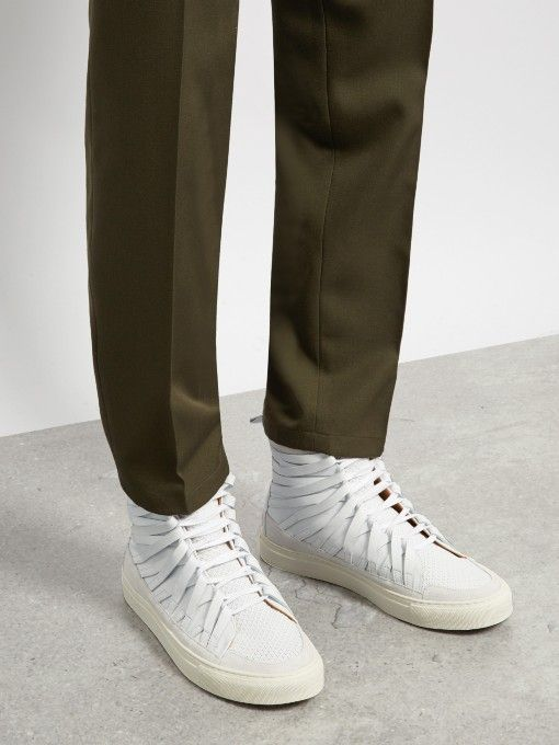 Falco high-top leather trainers  Damir Doma's architectural approach to design takes centre stage in these white calf-leather and suede Falco trainers.