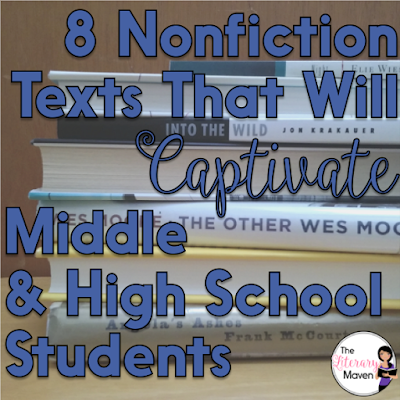 8 Nonfiction Texts That Will Captivate Middle School and High School Students is part of Middle school books, Middle school reading, Middle school libraries, Teaching middle school, Teaching nonfiction, Middle school english - At any grade level, it is easy for English class to be solely a study of fictional literature, but students should be equally immersed in rich nonfiction as well  Here's nonfiction recommendations, many of them memoirs and biographies, that will captivate your middle and high school students
