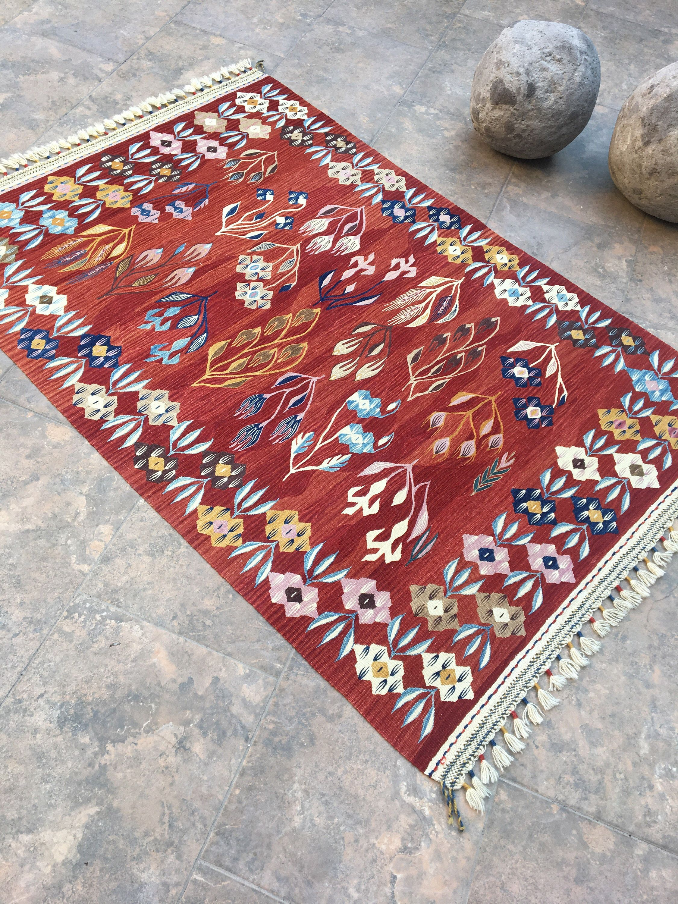 Oriental Vintage Kilim Rug Red Rug Turkish Tribal Rug Wool Etsy Vintage Kilim Rug Rugs Floor Area Rugs