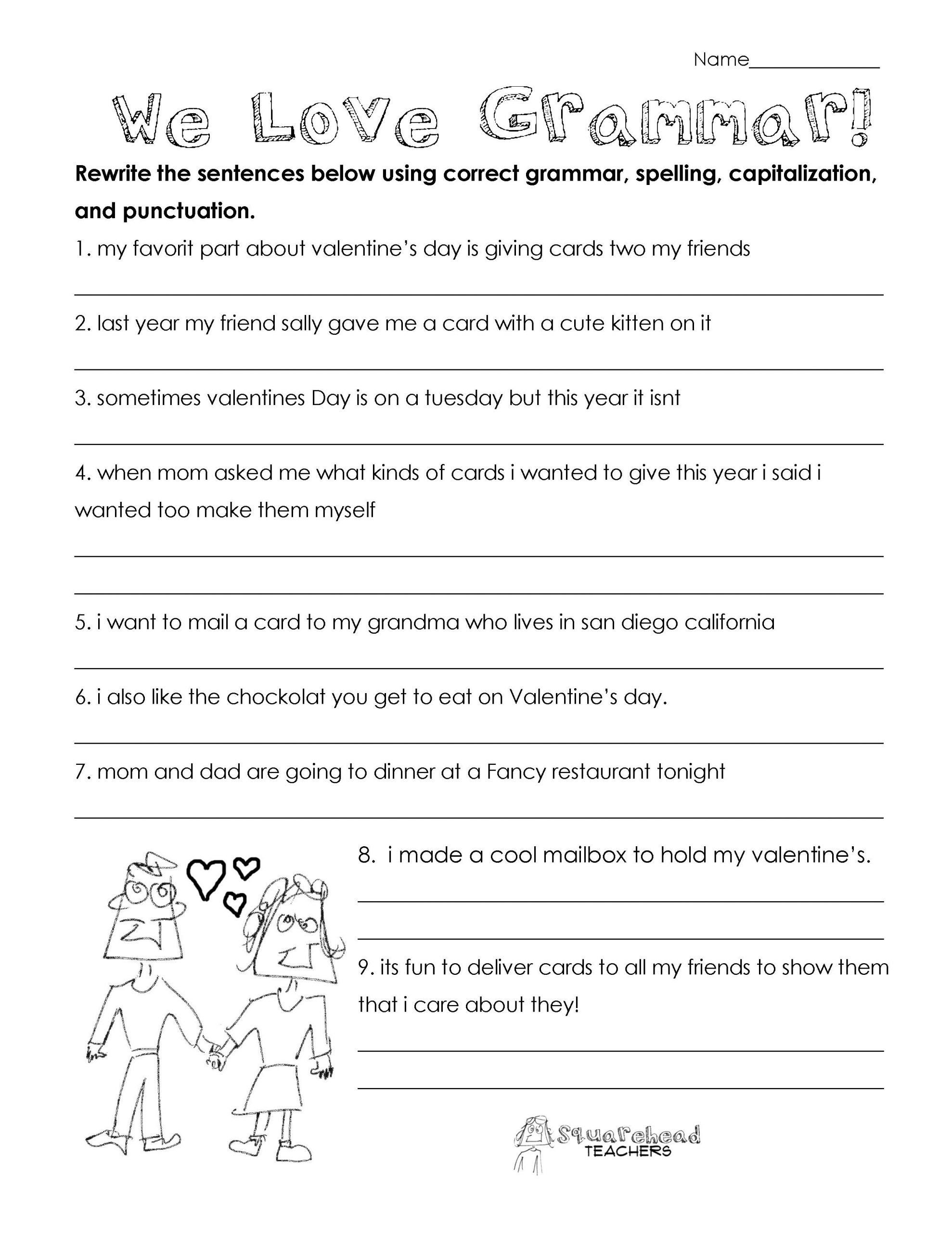 Grammar Worksheet 3rd Grade Valentine S Day Grammar Free Worksheet For 3rd Grade And Up Grammar Worksheets Free Grammar Worksheet 3rd Grade Math Worksheets