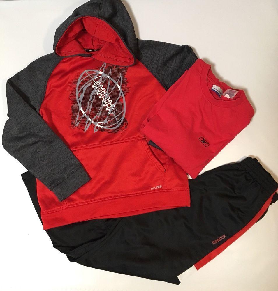 fbf2a41ac2e4 Reebok Tex Gear Boys Size M Red Black Shirt Athletic Pants Sweatshirt Lot 3