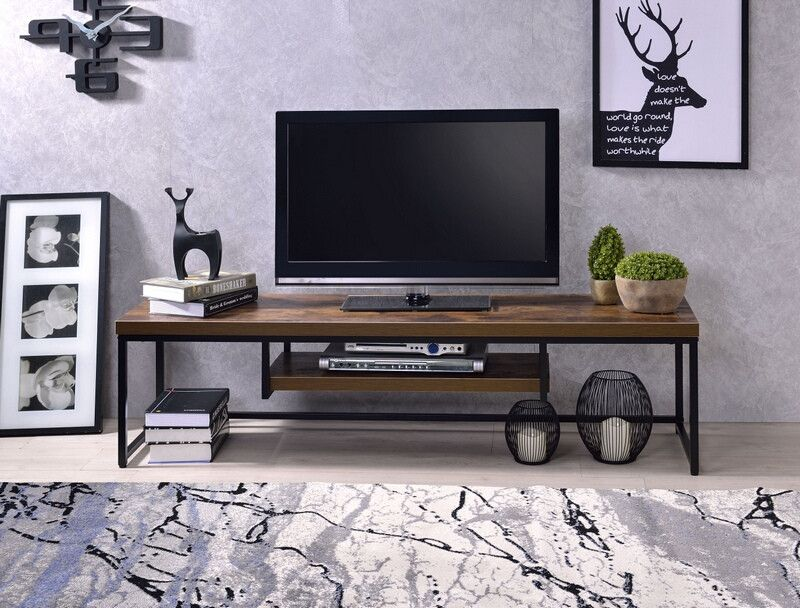 Bob Weathered Oak Finish Wood Black Metal 59 Tv Stand Measures 59 X 16 X 16 H Some Assembly Required Tv Stand Wood Metal Tv Stand Black Tv Stand