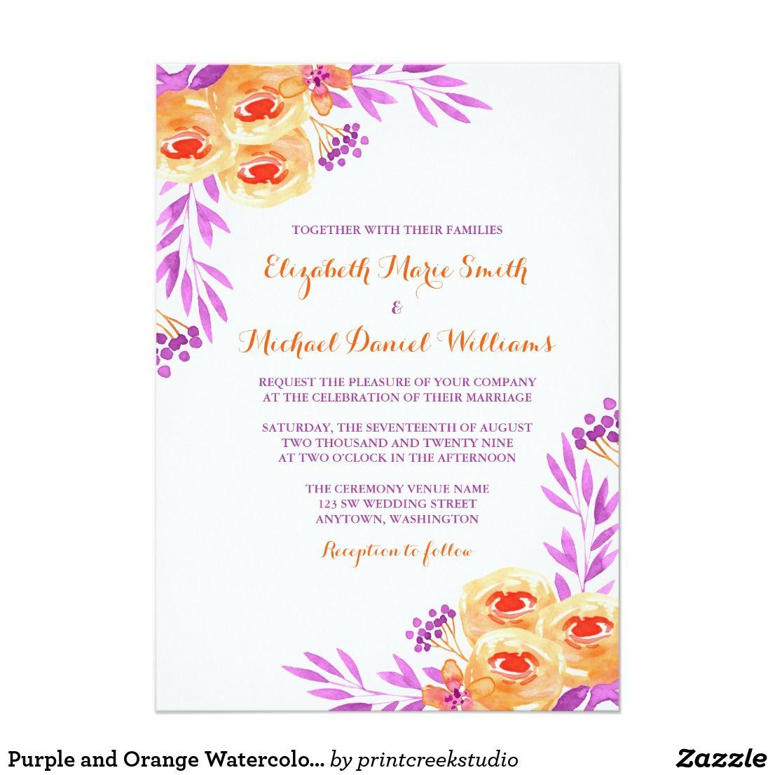 Purple And Orange Watercolor Floral Wedding Invitation Zazzle