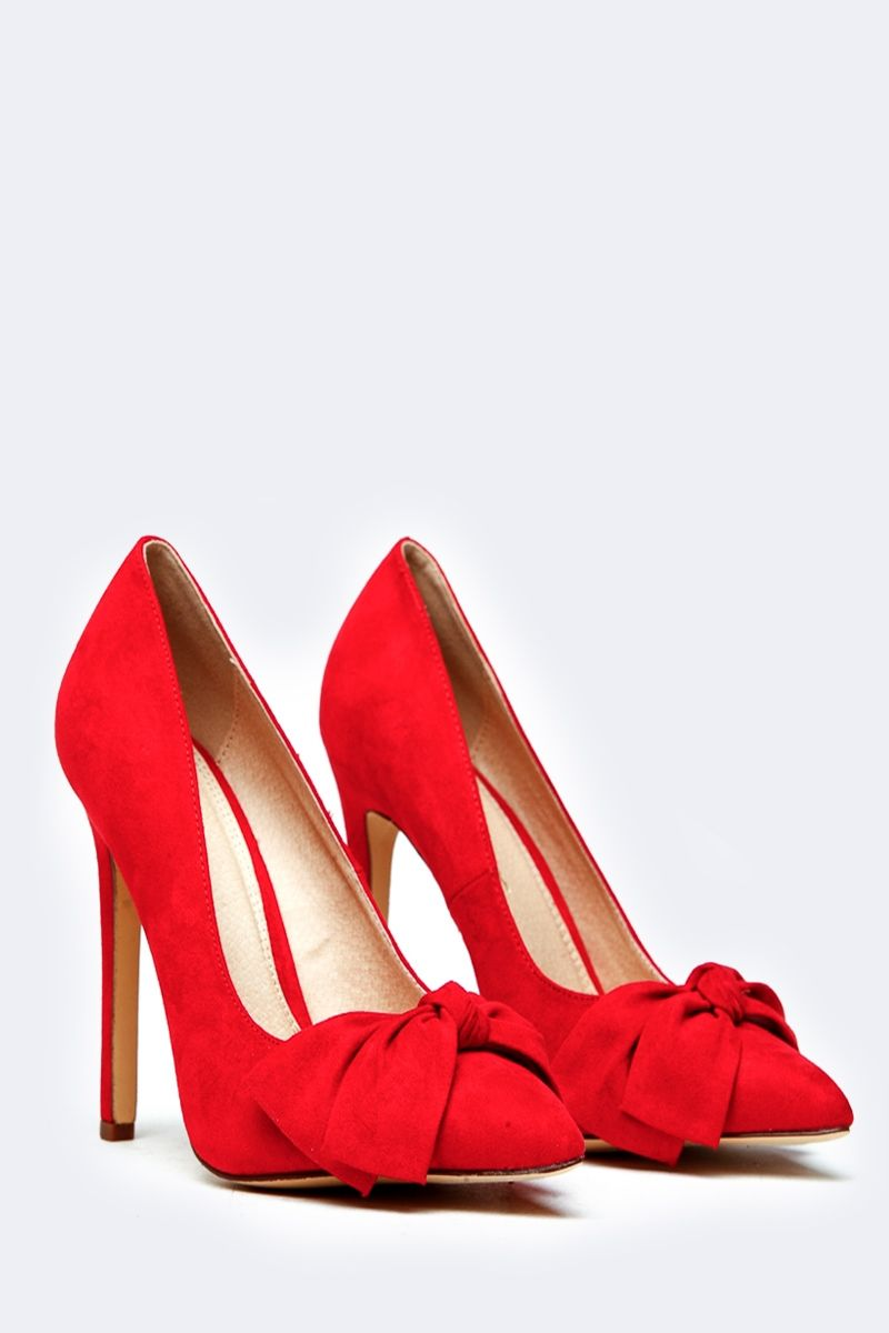 63cfc79478a Red Bow Faux Suede Pointed Toe Heels   Cicihot Heel Shoes online store  sales Stiletto Heel Shoes