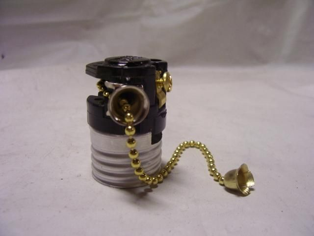 Leviton Pull Chain Socket Interior Medium Base Socket Brass Finish Chain Sl19504  Hardware