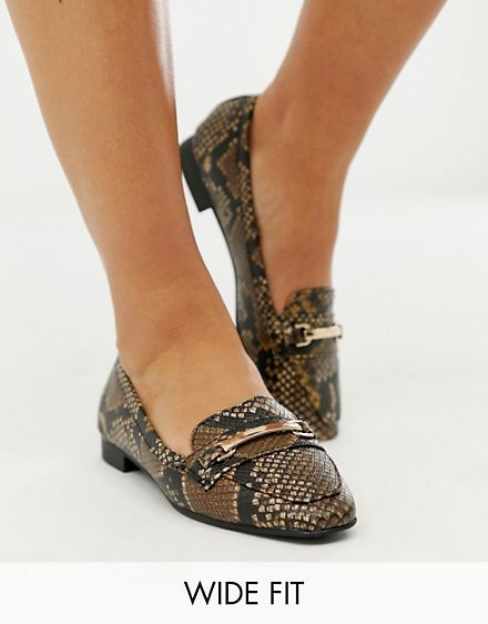 a912aedb12a New Look Wide Fit square toe loafer in snake