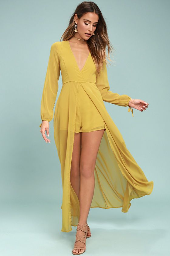 134cc08ba055 Take a twirl in the Gone With the Whirlwind Mustard Yellow Romper for a  trend that s the best of both worlds! Woven poly sweeps across a surplice  bodice ...