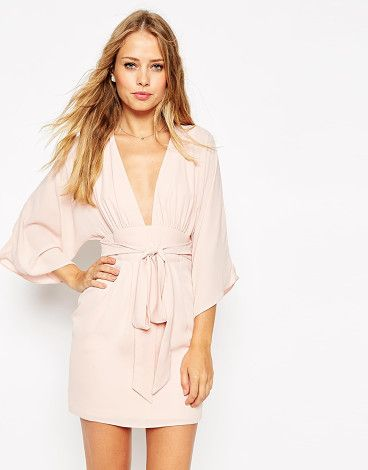 70s belted mini dress by Asos. Dress by ASOS Collection Woven fabric Deep V-