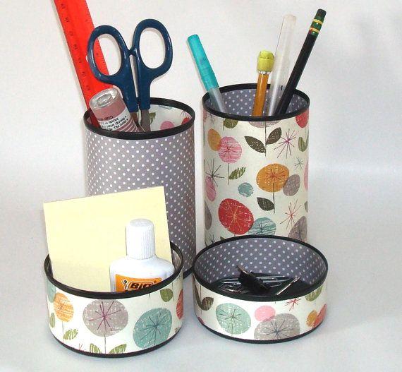 whimsical floral desk accessory set pencil holder pencil cup