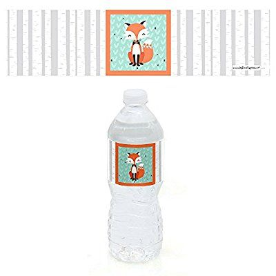11e119c09c Mr. Foxy Fox - Party Water Bottle Sticker Labels - Set of 10 | Maia ...