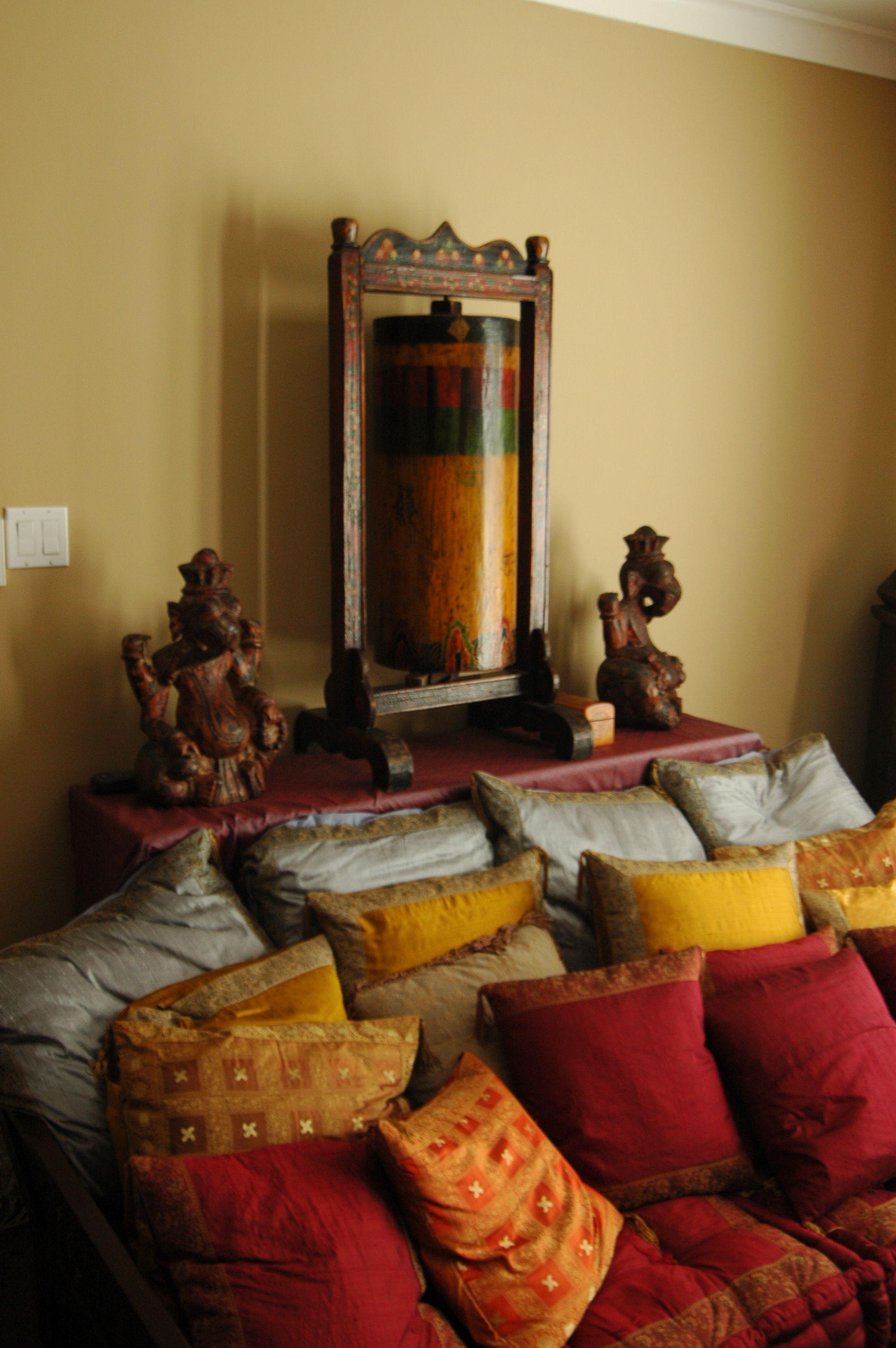 Handcrafted Tibetan Prayer Wheel Flanked With Wooden Hindu God