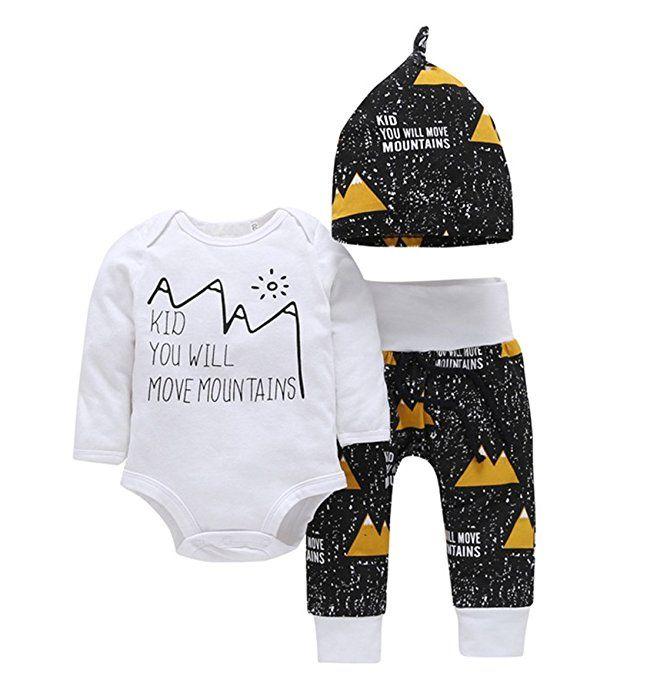 4e658ae02a35 Amazon.com  Newborn Baby Boys Girls Move Mountains Funny Bodysuits ...