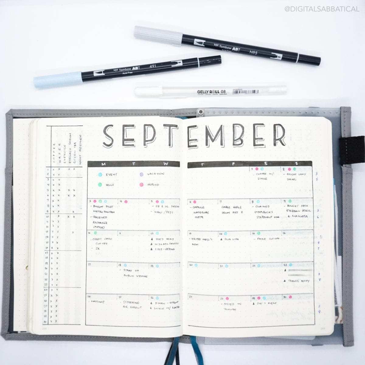 October Bullet Journal Feature   Jes of Digital Sabbatical   ElizabethJournals