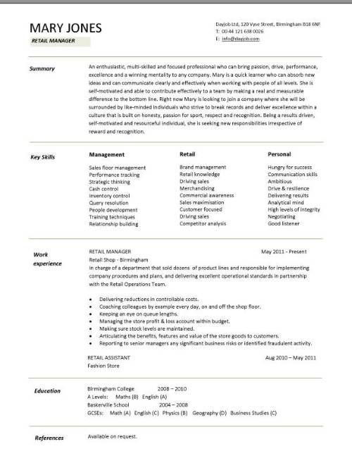 Retail CV template, sales environment, sales assistant CV, shop - hotel management resume format