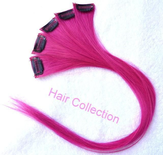 18hot Pink Remy Human Hair Clip On In Extensions For Highlights