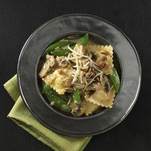 Ravioli with Snap Peas & Mushrooms Recipe