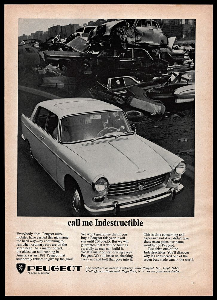 1965 Peugeot 404 Car Indestructible Junk Yard Wrecked B&W 1960s ...