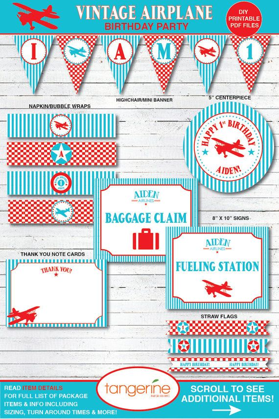 Airplane Birthday Party Decorations by TangerinePaperShoppe ...