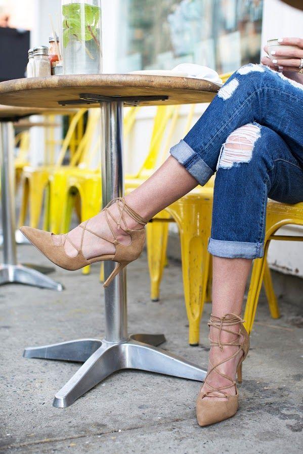 Camel Suede Lace up Heels | casual // coffee | // Atlantic-Pacific
