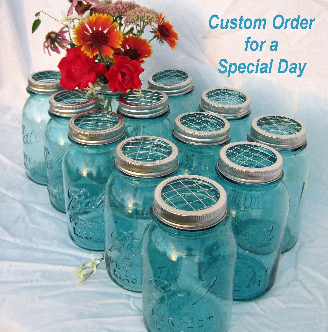 Mason jar weddings mason jars centerpieces reserved order upcycled