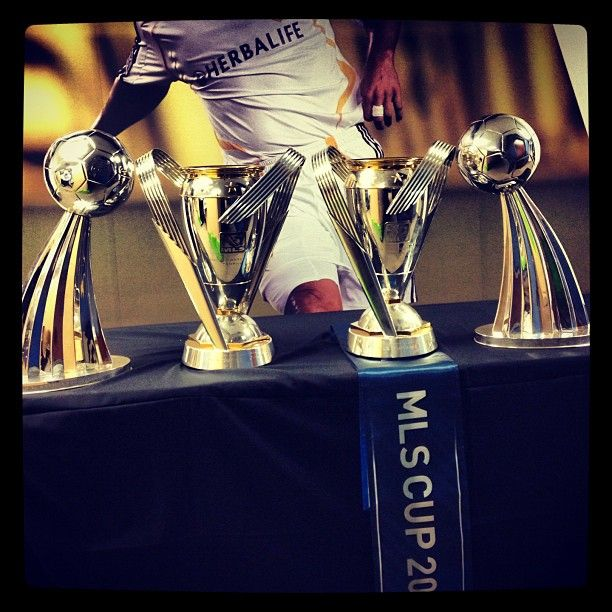 The Mlscup Trophies On Display In The Lagalaxy Office This Morning Congrats On Back2back Championships La Galaxy Mls Cup Galaxy