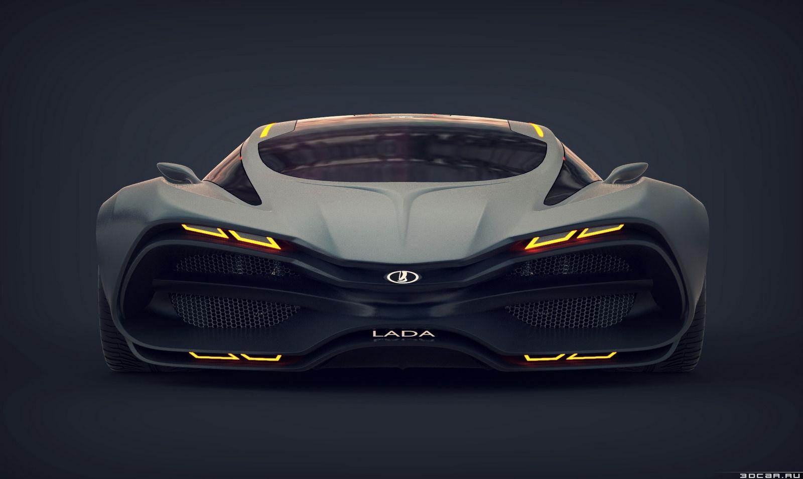 Voir cette image sur : Le concept de supercar de Lada Raven a un design inhabituel avec des grilles énormes à l'avant, de grands évents à l'arrière, et des passages de roue massifs.